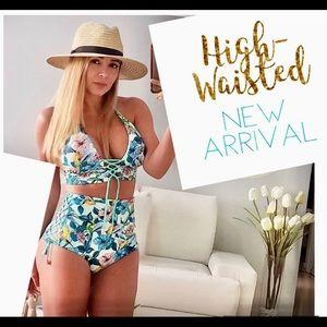 NWT blue high-waist colombian bikini set